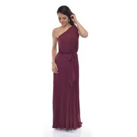 Vestido Festa Plissado Um Ombro Artemisia - Marsala