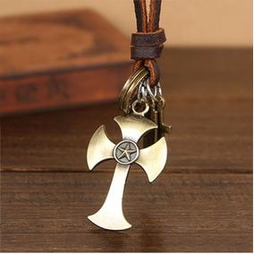 Colar Cordao Couro Ajustavel Cruz Crucifixo Frete Gratis