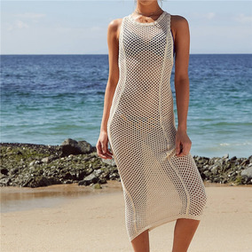 Vestido Salida Playa Pareo Tejido Bikini Bata Traje De Baño