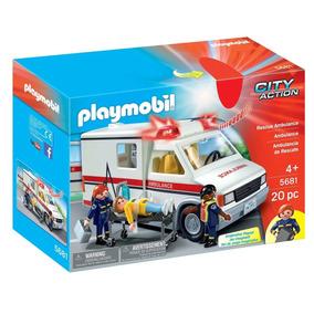 Playmobil Hospital Ambulância C/ Som E Luz + Bonecos Sunny