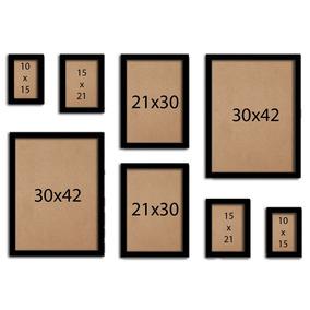 Kit 10 Molduras Quadro 2 10x15 2 13x18 2 A5 2 A4 2 A3 Vidro