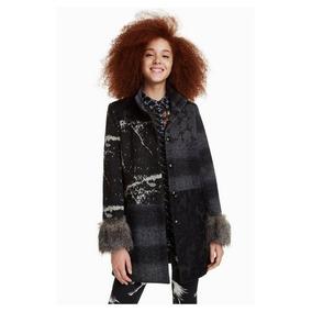 Abrigo Dama Textil Negro Desigual