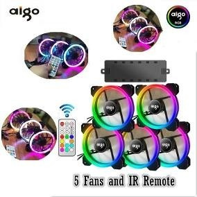 Kit 5 Fans/coolers Rgb Aigo Dr12 120mm - Pronta Entrega