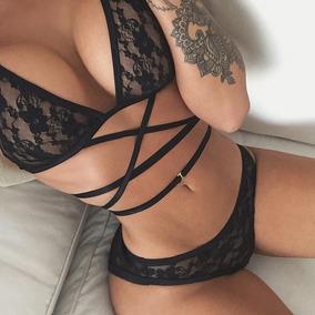 Coordinado Sexy Ropa Negro Sujetador Y Panty Conjunto