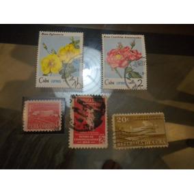 Lote Com 5 Selos Antigos Cuba
