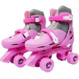 Patins 4 Rodas Ajustável Roller Clássico Quad Rosa Feminino