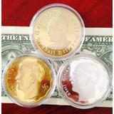 Set 3 Monedas Alemania Banadas En Plata Y Oro