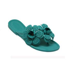 10 Pares Chinelo Feminino Flores Rasteirinha Azul Revenda