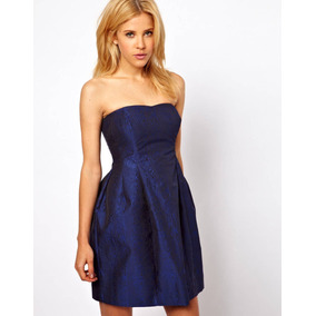 Vestido De Festa Tomara Que Caia Azul Royal Texturizado Glam