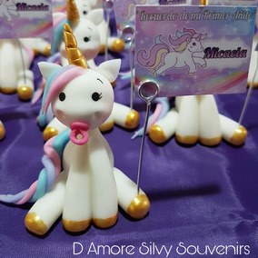 Unicornios Souvenir Porcelana Fría Tarjetita Incluida