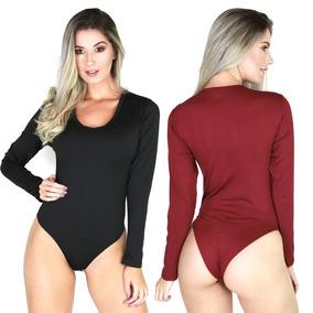 Body Feminino Manga Longa Costa Fechada Collant Blusa 040
