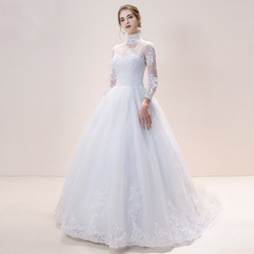 Vestido Noiva Cristã Evangélica Fechado Mangas Longas