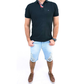 Kit 2 Bermuda Masculina Jeans Slim Com Elastano