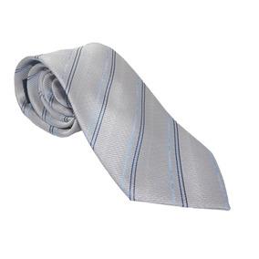 Corbata Italiana Plateada Con Diagonales Azules