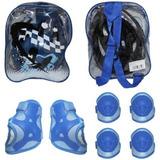 Kit Capacete Joelheira Cotoveleira Azul Infantil - Elleven