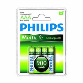 Pilha Recarregavel Philips Aaa 4 Pilhas 900mah Original