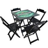 Jogo De Mesa 70x70 4 Cadeiras Madeira Dobrável Bar Decoradas