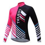 Camiseta Ciclista Ciclismo Longa Bike Natureza Verão Rosa