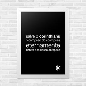 Quadros Decorativos Infantil A4 Hino Corinthians Preto 103cbea217d0a