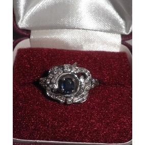 Anillo Para Dama En Oro De 14k Con Zafiro Y Diamante Talla 9