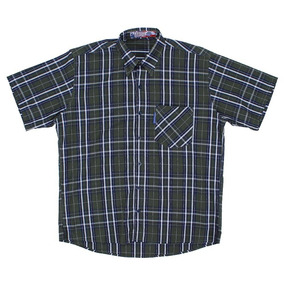 Camisa Masculina Xadrez Manga Curta Verde Rodeo Western 2261