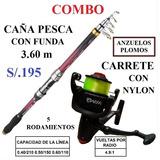 Caña Pesca 3.60 M + Carrete, Nylon, Anzuelos Y Plomo Pescar