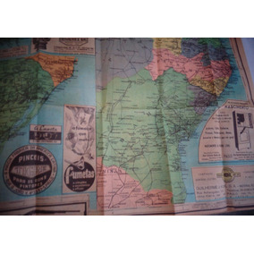 Trem Mapa Ferroviário Brasil Uruguai 1953