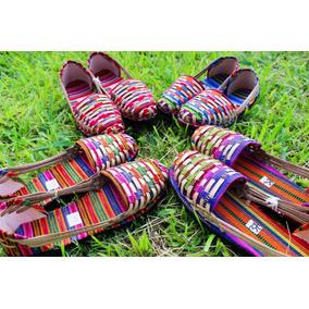 Sandalia Calzado Artesanal De Piel Y Tela Colorida Mujer