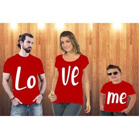 Blusa Pai, Vestido Mãe + Blusa Filho + Body Baby - Love-me