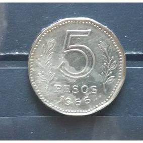 M 0006 Moeda Antiga Argentina 5 Pesos 1966
