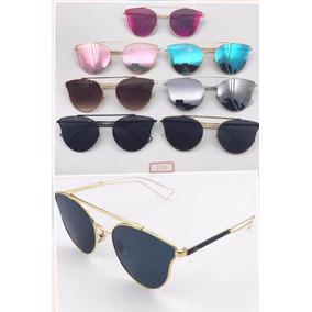 Óculos De Sol Round Gatinho Geek Espelhado Metal Frete Brind. 7 cores. R   120 42b2759f60