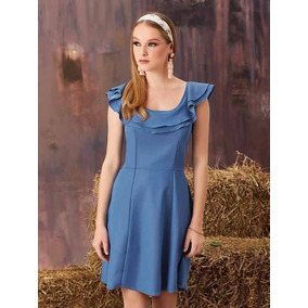Ropa Mujer Vestido Casual Formal Azul Cesleste V18 204