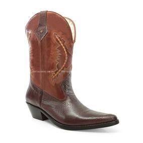 Bota Texana Feminina Em Couro Laço De Prata Feminino Botas - Sapatos ... 90b4dabe566