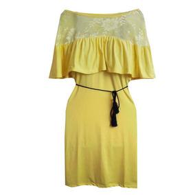Vestido De Praia Amarelo Ombro A Ombro Roupas Femininas