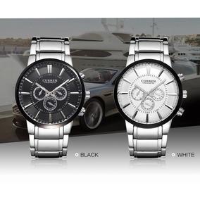 Kit 2 Relógios Curren 8001 Preto E Branco Aço 4,8 Cm Luxo