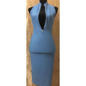 Vestido Strech Azul Mezclilla Claro Largo Rodilla Cierre Del
