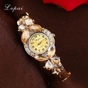 Relógio Feminino De Pulso Dourado Exclusivo Top Luxo