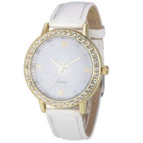 Relógio Quartz Feminino Pulseira De Couro Strass Promoção