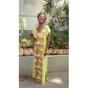 Vestido Longo Tecido Viscose - Vestidos Casuais Longos Femininas no ... 51bbf05b590