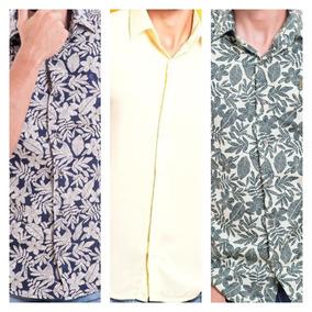 Camisa - Kit C/ 3 Camisas:2florais Em Algodão + 1 Em Viscose