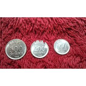 Moedas De Cruzeiro De 100, 200 E 500 De 1986 Hiperinflação