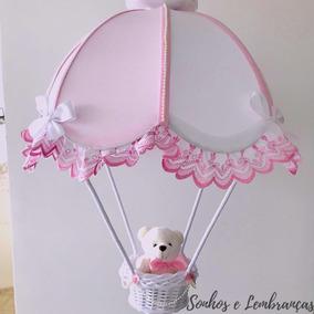 Lustre Balão Rosa Enxoval Quarto De Bebê Decoração Urso