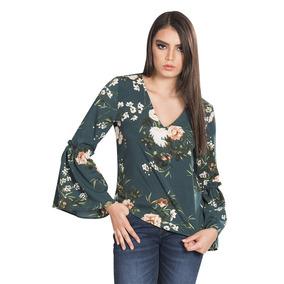Blusas Dama Casuales Verde Cuello V Floreada Moda Manga Larg