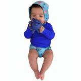 Conjunto C Capuz Bebê Com Proteção Solar Uv 50- 3 A 15 Meses