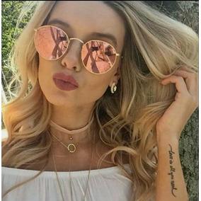 Óculos Redondo Round Espelhado Pink Rosa Gold Rose Tendencia 4edb643b74