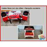 Combo Mesa Infantil + Dos Sillas + Banquito Escalera