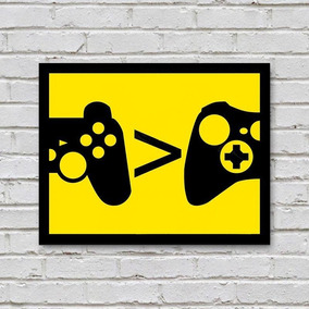 Placa De Parede Decorativa: Playstation Xbox - Shopb