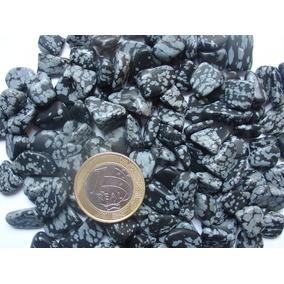 Pedras Obsidiana Flocos De Neve Rolada 1 A 1,5cm Pact 100gr