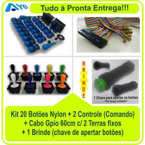 20 Botões Arcade Nylon + 2 Controles + 1 Cabo Gpio