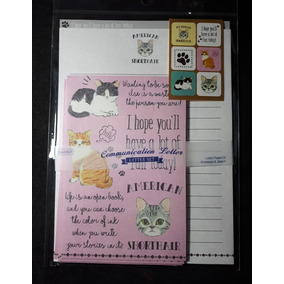 Bloco De Papel De Carta Gatos Letter Set American Shorthair